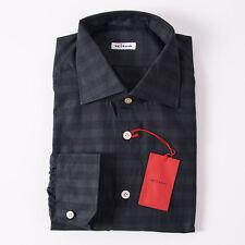 NWT $795 KITON NAPOLI Dark Green Check Cotton Shirt 16.5 x 36 Modern-Fit