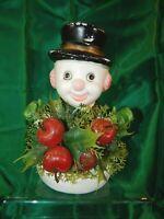 Vintage 1960s Blow Mold Plastic Christmas Snowman Florabelle Figure FREE SHIP