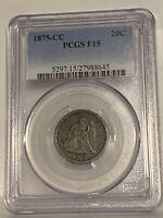 1875-CC 20c Liberty Seated Twenty Cent Piece PCGS F15