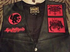 Satanic Warmaster Archgoat Beherit Black Metal Leather Biker Vest Waistcoat Rock