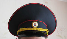 Original MANY SIZES Russian Police Officer Visor Cap Hat Uniform Black Genuine