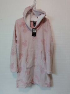 Disney Women's Sz M Fleece Lounger Robe With Sherpa Hood Sz Medium Pink