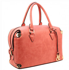 Designer Inspired Side Buckle Top Handle Satchel Purse Coral Large Handbag