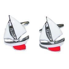 Plateado Y Rojo Esmalte Yate Gemelos Con Bolsa De Regalo Barco Quilla Viento Sail Nuevo