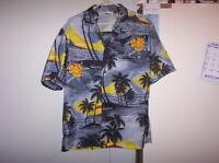 Royal Creations Hawaiian Shirt L Large Palm Trees Sunset Flowers Pocket