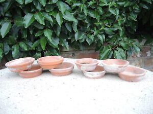"8 Old Vintage Terracotta Plant Pot Saucers  Shallow Pots 3.5 - 4"" Diameter (V)"