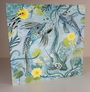 Greeting Card - Koi Carp (Blank Inside) - Birthday, Notecard Etc