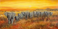 Wand Bild A. Heins Tiere Wildtiere Elefant Malerei Ocker 49x99x1,2 cm A6EH
