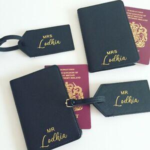 Personalised Mr & Mrs Passport Cover & Luggage Tag Bride Gift Wedding Honeymoon