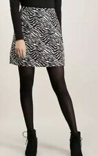 TU Zebra Print A-line fur skirt festival size 8 monochome Knee Length Black New
