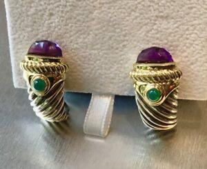 Authentic David Yurman Renaissance Shrimp Earrings 925/14K Amethyst & Emerald
