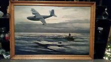 "William Goadby Lawrence orig WWII USCGR J4F-1 Widgeon rescue painting 24""x36"""