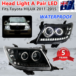 Headlights A PAIR DRL HALO Projector Angel Eyes suit Toyota HILUX 2011-2015 AU