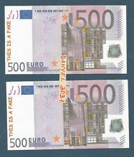 "4 Billets factice 500 euro (fictif) publicitaire - verso MEMO ""this is a fake"""