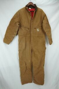 VTG Carhartt Canvas Insulated Coveralls #9960 Made in USA Brown Men's 46R
