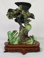 Large Transparent Green Jade Sculpture w/Fitted Wooden Stand Hand Carved