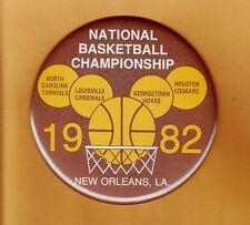 "ORIG 1982 NCAA FINAL FOUR 6"" EASEL PINBACK UNC TARHEELS HOUSTON LOUISVILLE HOYAS"