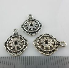 20pcs Tibetan Silver Flowers Charms Pendants Beads for Jewelry 14x17mm