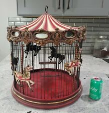 "Vintage Victorian Decorative Red Hanging Horse Carousel Bird Cage 21"" x 17"""