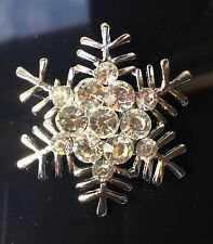 Snowflake Brooch Silver Christmas Winter Frozen Crystal Wedding Gift Snow Pin