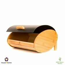 Bread Bin Roll Top Bamboo Loaf Storage Drop Down Front Lid