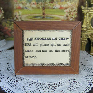 Vtg Dollhouse WESTERN NO SMOKING SIGN Cigarettes General Store Cowboy Picture