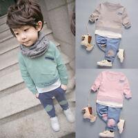 2PCS Lively Unisex Baby Kids Girls Boys Cotton Shirt Pants Suit Outfits Clothes