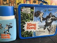 1977 Vintage KING KONG Metal LUNCH BOX & THERMOS Complete Great Condition