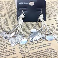 vintage retro style leaf, drop, shell plate tassel dangle earrings
