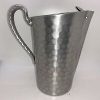 Large Vintage Hand Forged Everlast Metal Hammered Aluminum Water Pitcher Ice Lip