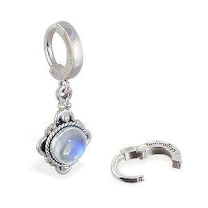 TummyToys Sterling Silver Navel Ring with Moonstone Drop Charm [TT-69035]