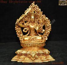 Tibet bronze 24k gold carved wenshu Manjushri Samantabhadra Kwan-Yin GuanYin