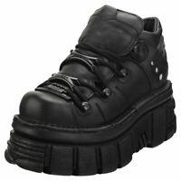 New Rock M106n-c52 Unisex Black Leather Platform Shoes