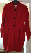 RIVER ISLAND RED WITH BLACK BUTTONS WINTER COAT SIZE 12 GREAT CONDITION