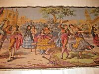 "Antique Victorian Tapestry Dancing Festivities19"" by 56"" Made in Belgium"