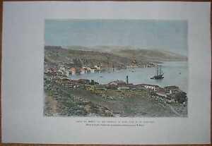 1884 Reclus print BAY OF SMYRNA IZMIR, TURKEY (#40)