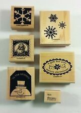 Stampin' Up! Christmas Punch Rubber Stamps Wood Snowman Stamp Snowflake Santa