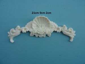 Decorative large rose shell center applique onlay resin furniture moulding 057A