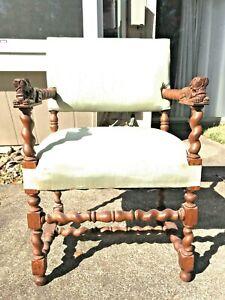 Twisted barley wood lion chair