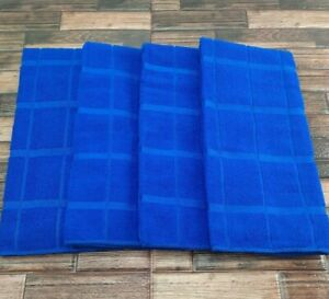 4 Pack Kitchen Dish Hand Towels Solid Blue Absorbent and Extra Soft Windowpane