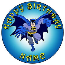 """BATMAN FAN PARTY - 7.5"""" PERSONALISED ROUND EDIBLE ICING CAKE TOPPER"""