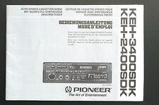 PIONEER keh-3400sdk/keh-2400sdk manuale d'uso/User Manual/owner'S MANUAL!