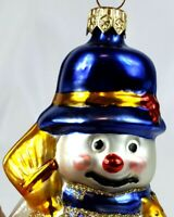 Snowman Ornament Holding Broom and Presents Bright Colors Czechoslovakia Glass