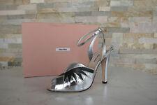 MIU MIU Gr 39 Sandaletten High Heels Schuhe 5X315A silber schwarz NEU UVP 650 €