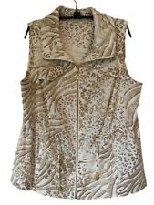 Chicos Zenergy Womens Vest Ivory Brown Animal Print Zip Up Stretch Size 2 (L/12)