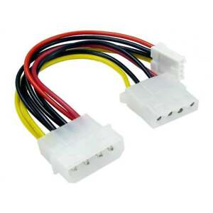 4 Pin Male Molex To Female Molex and 4 Pin Floppy Drive Power Splitter Cable