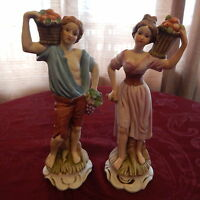 WOMEN AND MEN  2 Porcelain figurines, hand painted, Made in Taiwan # 2230, 2231