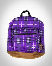 YAK PAK Plaid DELUXE Student Backpack SHOULDER BAG School PURPLE Black BROWN