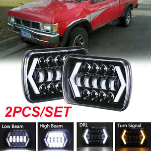 "Pair  7X6"" 5X7"" LED Headlight Halo DRL For Chevrolet Jeep Cherokee XJ Nissan"