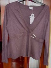 NWT~Next~Ladies soft,stretchy brown long sleeve top x over neck buckle detail 20